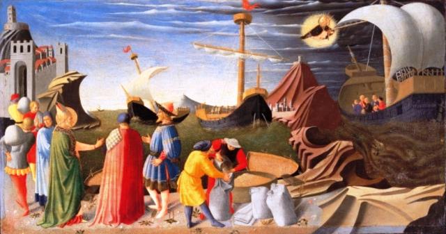 L'incontro di san Nicola con un messaggero dell'imperatore e il salvataggio miracoloso di un veliero - Fra Angelico